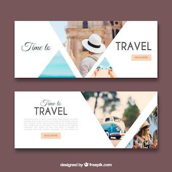 Banners de viagens com fotografia