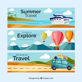 Banners de viagens com paisagem