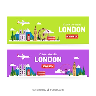 Banners de viagens de londres com design plano
