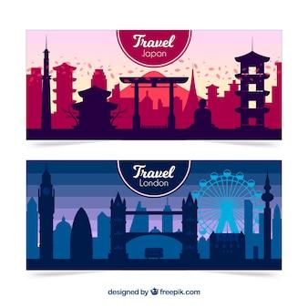 Banners de viagens de londres e japão
