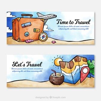 Banners de viagens em estilo aquarela