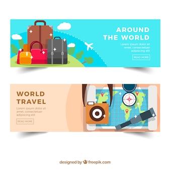 Banners de viagens em todo o mundo com bagagem e mapa