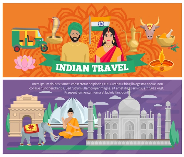 Banners de viagens indianos