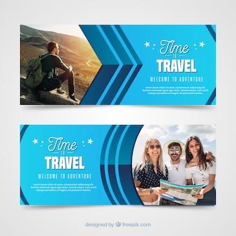 Banners de viagens modernas com foto
