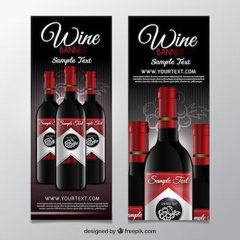 Banners de vinho com detalhes vermelhos