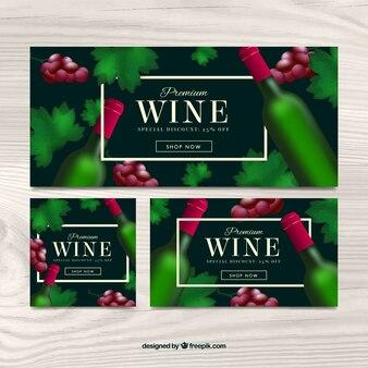 Banners de vinho com um frasco verde