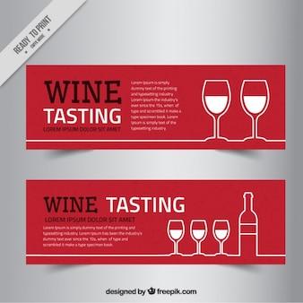 Banners de vinho em estilo minimalista