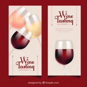 Banners de vinho em estilo realista