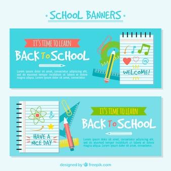 Banners de volta à escola com livros