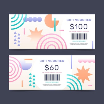 Banners de voucher de presente gradiente
