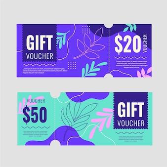 Banners de vouchers de presente desenhados à mão com folhas