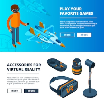 Banners de vr. jogo virtual de simulação de realidade portátil equipamentos capacete fone de ouvido óculos imagens isométricas