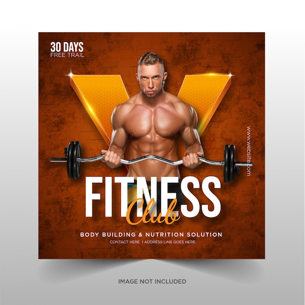 Banners de web de mídia social fitness ginásio