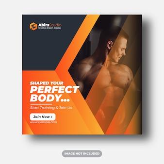 Banners de web de mídias sociais de fitness ginásio modelo premium