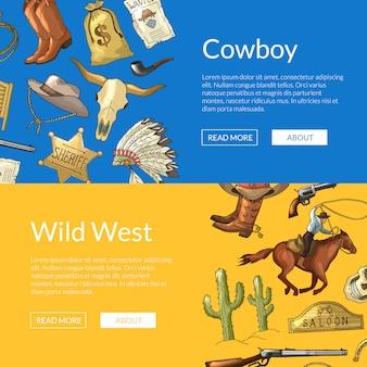 Banners de web de oeste selvagem cowboy com cavalos, cactos e crânio de vaca