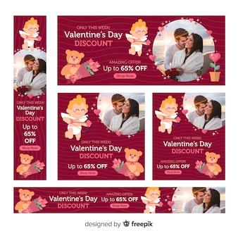 Banners de web de venda de dia dos namorados