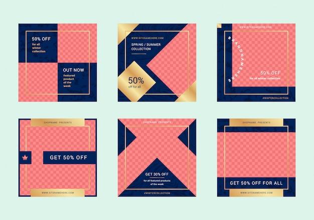 Banners de web de venda de moda para aplicativos móveis de mídia social. disposições promocionais para o seu site, blog e postagens de mídia social
