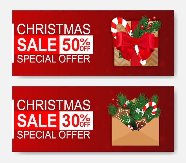 Banners de web de venda de natal com presente e carta.