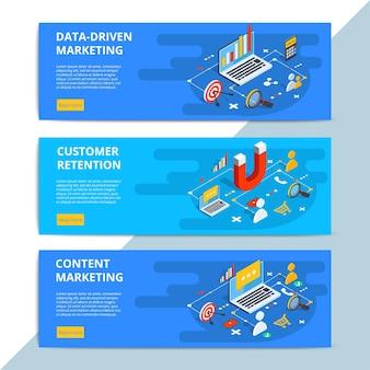 Banners de web de vetor isométrico de marketing de conteúdo estratégia de venda de negócios e recursos de cliente de mídia social