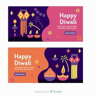 Banners de web design plano diwali com velas