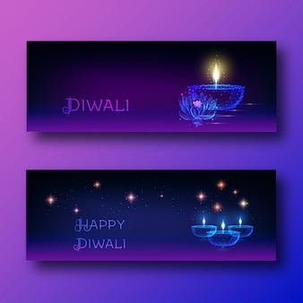 Banners de web feliz diwali com lâmpada de óleo brilhante futurista diya, flor de lótus e texto.