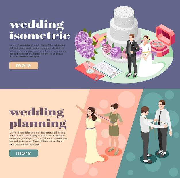 Banners de web isométricos de planejamento de casamento ilustrados medindo envelopes de figuras de noivos com anéis de convites e bolo em camadas