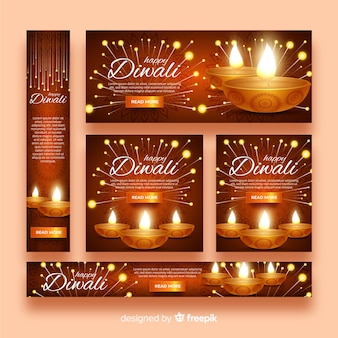 Banners de web realista diwali com velas