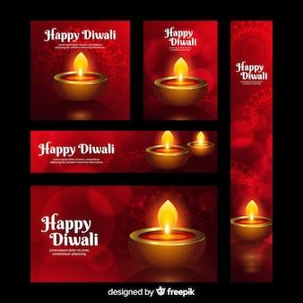 Banners de web realista diwali