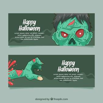 Banners de zumbi do dia das bruxas