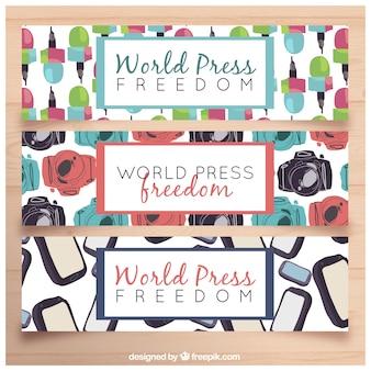 Banners decorativos com elementos coloridos para o dia da liberdade de imprensa mundial