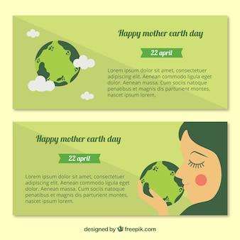 Banners decorativos em tons de verde para o dia mãe terra