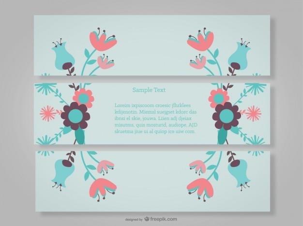 Banners decorativos florais com flores