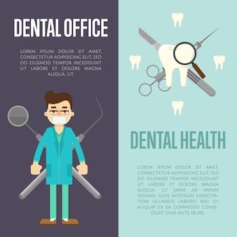 Banners dentais com dentista e instrumentos