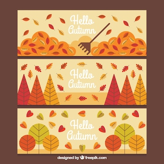 Banners desenhados a mão com folhas outonais