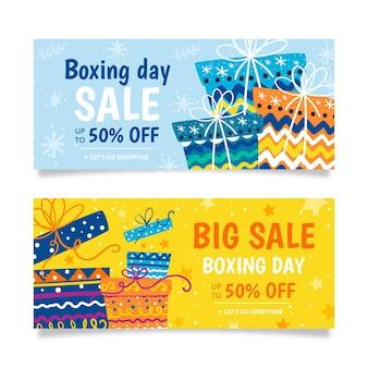 Banners desenhados à mão com vendas de boxe