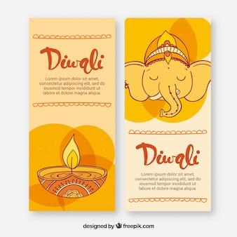 Banners desenhados à mão de elefantes e vela de diwali