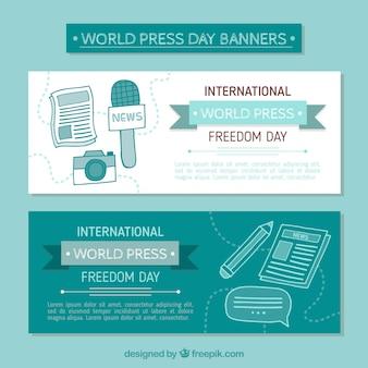 Banners desenhados à mão em tons azuis para o dia da liberdade de imprensa mundial
