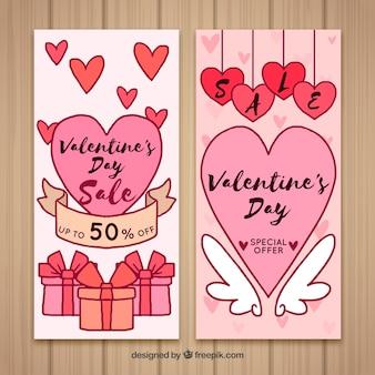 Banners desenhados à mão no dia dos namorados