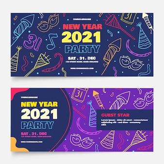 Banners desenhados à mão para a festa de ano novo de 2021
