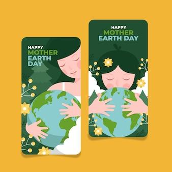 Banners desenhados à mão para o dia da mãe terra