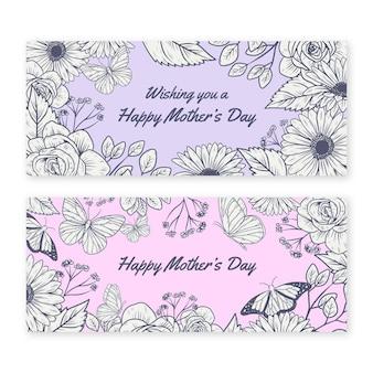 Banners desenhados à mão para o dia das mães
