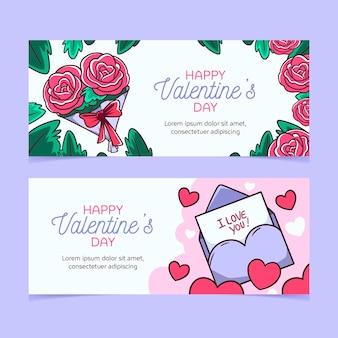 Banners desenhados à mão para o dia dos namorados
