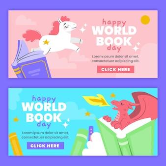 Banners desenhados à mão para o dia mundial do livro