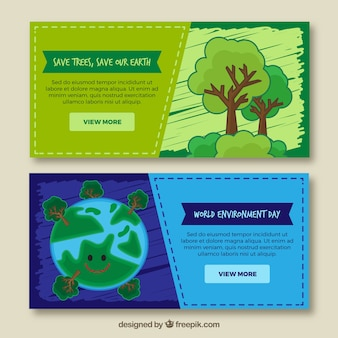 Banners desenhados à mão para o dia mundial do meio ambiente