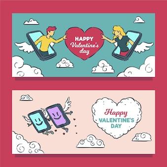 Banners desenhados à mão para telefones do dia dos namorados