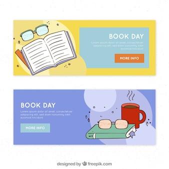 Banners desenhados mão do dia do livro mundial