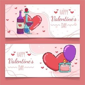 Banners desenhados para o dia dos namorados