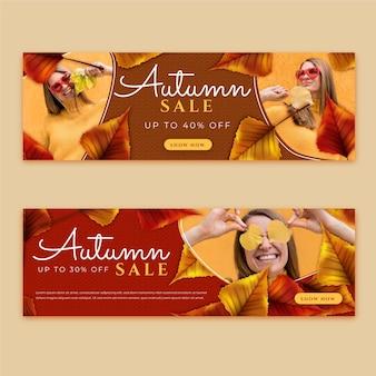 Banners detalhados de venda de outono com foto