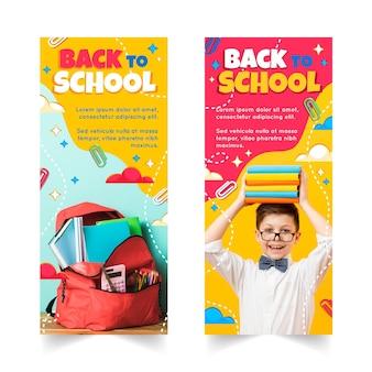 Banners detalhados de volta às aulas com foto