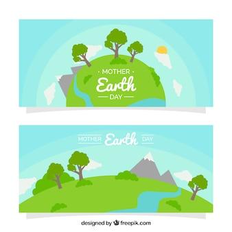 Banners dia a mãe terra com belas paisagens